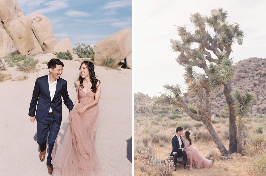 candid engagement session in joshua tree