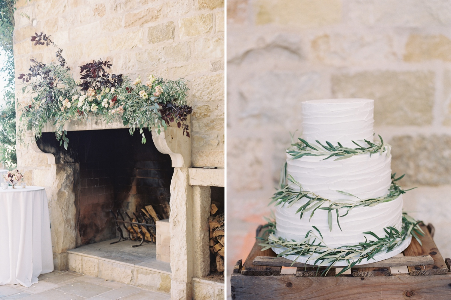 Villa fireplace with floral display on mantel and simple and elegant wedding cake with rosemary sprigs