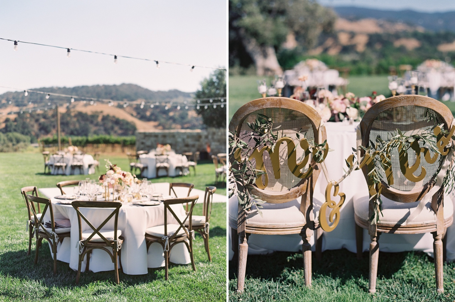 Rustic and modern outdoor wedding tabletops and decor at winery
