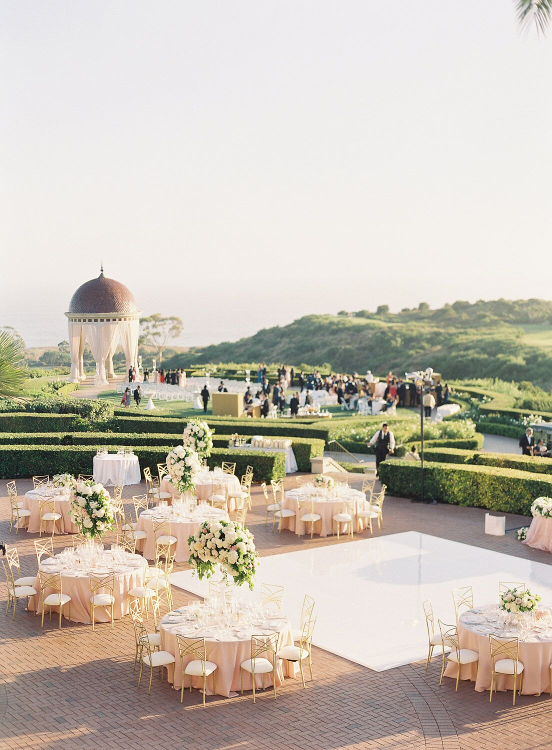 Overhead shot of outdoor reception space with round tables