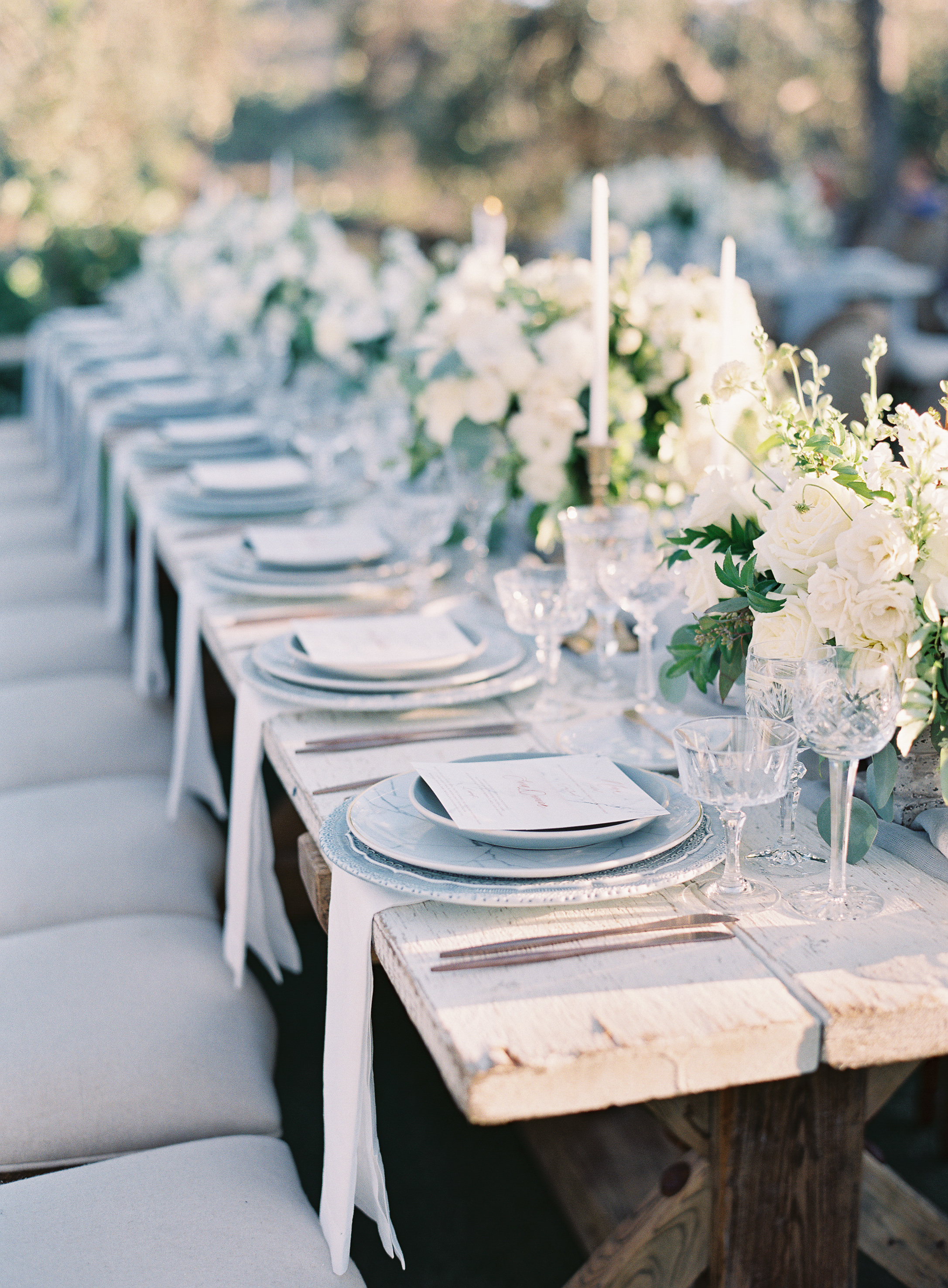 Side view of farm/family style long table setting. White rose and mixed white flower center pieces. Rustic/modern