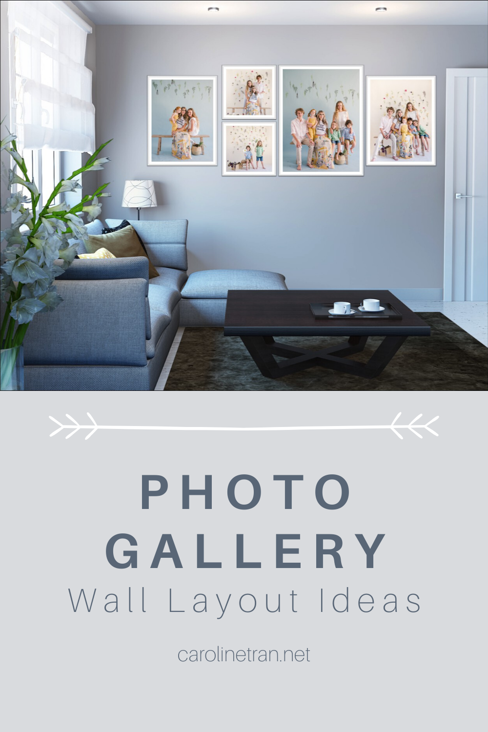 Living room with photo gallery wall